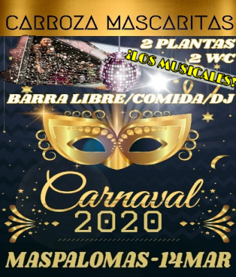 Carroza Mascaritas Cabalgata Carnaval Maspalomas 2020